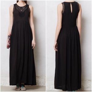 Mermaid Anthropologie Black Embroidered Maxi Dress